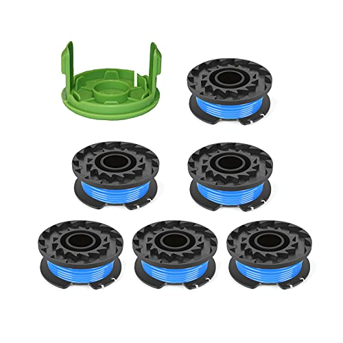 """Thten Weed Eater Spools Replacement for Greenworks 29092 21302 24 Volt 40V 80V Cordless Trimmer 16ft 0.065"""" Single Line String Trimmer with 3411546A-6 Cap Covers Parts Auto-Feed String Edger 6+1"""