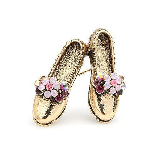 YONGYONGMY Broche Retro Vintage Zapatos Broches Metal De Mujer Metal Pink Flower Bowknot Zapatos Broche Pins Regalos