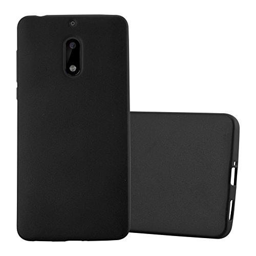 Preisvergleich Produktbild Cadorabo Hülle für Nokia 6 2017 - Hülle in METALLIC SCHWARZ Handyhülle aus TPU Silikon im Matt Metallic Design - Silikonhülle Schutzhülle Ultra Slim Soft Back Cover Case Bumper