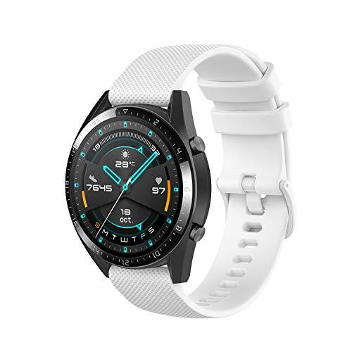 Wownadu 22MM Correa Compatible con Fossil Gen 5, Galaxy Watch 3 45MM Correa, Pulsera Deportiva Silicona Blanco Repuesto Compatible con Garmin Vivoactive 4 (Sin Reloj)