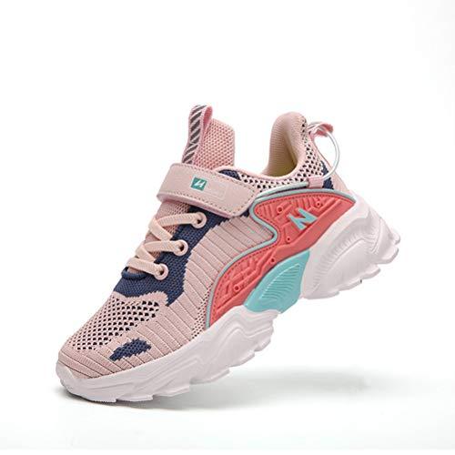 Zapatillas Deporte Niños Ligero Zapatos de Gimnasia Niñas Running ultraligeras Zapatos Deportivos Rosa EU 32