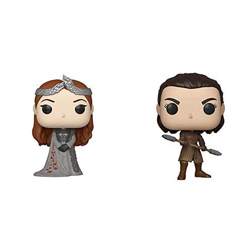 Funko Pop! TV: Game of Thrones - Sansa Stark + Pop! TV: Game of Thrones - Arya w/Two Headed Spear, Multicolor, Estándar