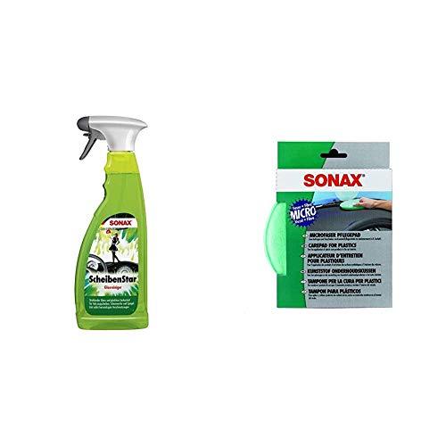 SONAX ScheibenStar (750 ml) kraftvoller Reiniger für Fahrzeugscheiben und Spiegelflächen & MicrofaserPflegePad (1 Stück) für gleichmäßiges Auftragen von Kunststoffpflegemitteln im Innenraum