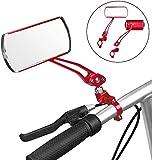 Espejo Retrovisor de Bicicleta - Espejos Giratorios de 360 ° Espejos Ajustables en Aleación de Aluminio,Se Aplican Al Manillar para Motocicletas Eléctricas con un Diámetro Entre 22-25 mm (Rojo)