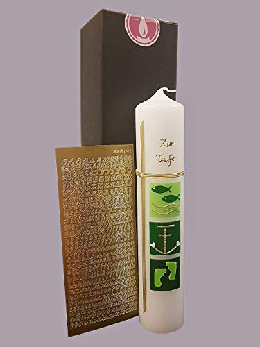 Taufkerze Kommunionkerze Mädchen Jungen - in grün / 300x60 mm/Zubehör zum selbstbeschriften dabei. Verpackungskarton kann für die Aufbewahrung der Kerze später benutzt werden. Handarbeit.