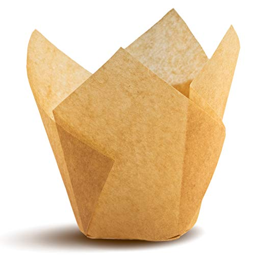 Tulip Cupcake Liners, Natural Baking Cups for Standard Size Cupcakes and Muffins Liners (100, Natural)