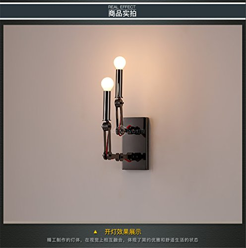 YU-K Chambre Simple Vintage wall lamp creative living salle à manger chambre lumières lumières allée wall lamp retro vent industriel lampe murale robot escalier restaurant Cafe Internet Cafe hot pot shop lampe murale Fer à repasser escamotable