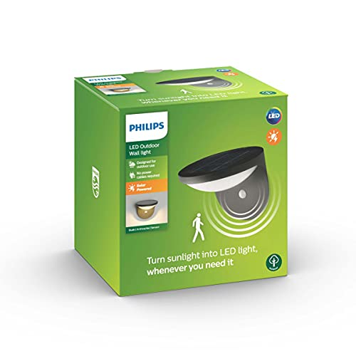 Philips myGarden Dusk - Aplique para exterior, LED, con sensor de movimiento, aluminio, color...