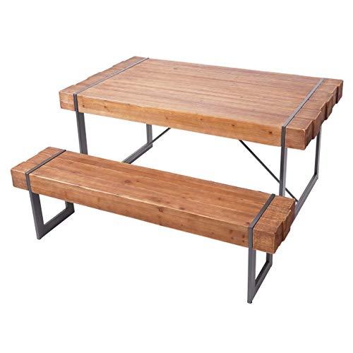 Mendler Esszimmergarnitur HWC-A15, Esstisch + 1x Sitzbank, Tanne Holz rustikal massiv - braun 160cm