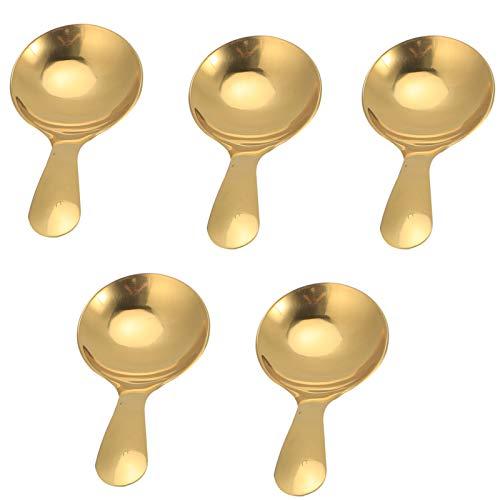 Nivvity Cuchara Corta, 5 Piezas 304 de Acero Inoxidable para Helado, té, Postre, Cuchara, Crema, Utensilios de Cocina(Gold)