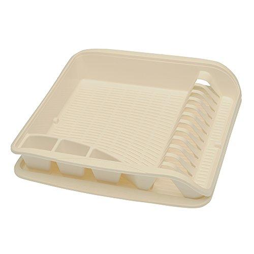 keeeper Égouttoir à Vaisselle avec Bac d'Égouttement, Plastique sans BPA, 39,5 x 39,5 x 8 cm, Pierre, Crème