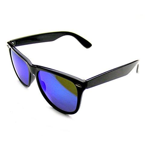 Emblem Eyewear - Negro Flash Espejo Polarizados Llanta Cuernos Gafas De Sol (Azul)