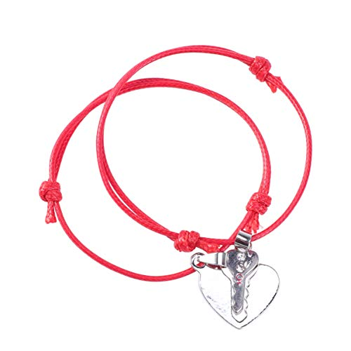 VALICLUD 2pcs Lock Key Couple Bracelet Matching Heart Puzzle Charm Rope Braided Bracelet BFF Bangle Valentines Day Wrist Jewelry Gift for BFF Friendship Relationship Red