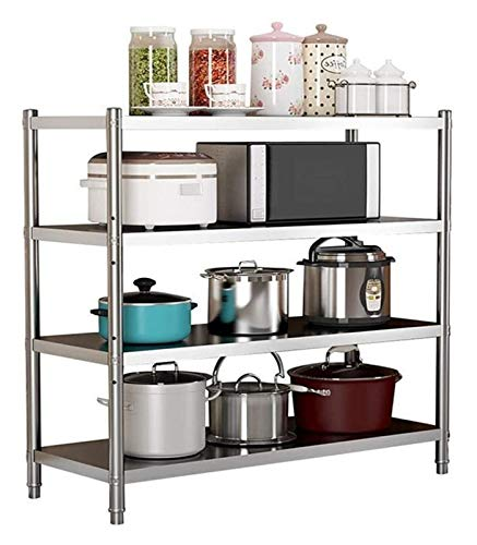 Cocina de acero inoxidable estante del piso de 4 capas Gabinete de almacenamiento, cocina tabla de hostelería, Banco Heavy Duty trabajo for cocinas industriales Catering Gabinete de almacenamiento