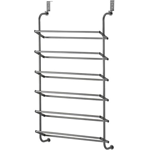 Whitmor 6 Shelf Over The Door Gunmetal Gray Shoe Rack,...