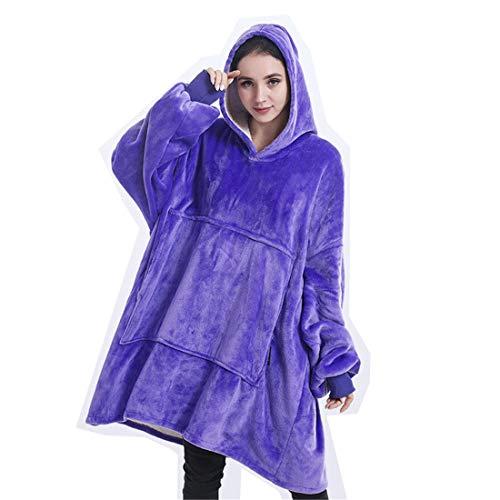 WLMGWRXB Suéter con Capucha de Manta, de Gran tamaño súper Blando cómodo Caliente Gigante con Capucha, Ajuste para Adultos Hombres Mujeres Adolescentes,Púrpura