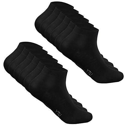CALZE YTLI 6 Paar PREMIUM Socken gekämmte Baumwolle bequem ohne drückende Naht, EU 39-42 Schwarz