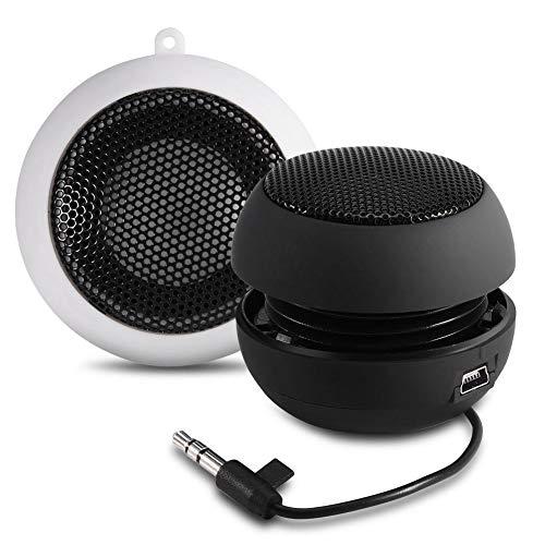 Mini Altavoz, Altavoz Portátil con Conector de Audio de 3.5 mm Batería Recargable Incorporada de 180 mAH para iPod, Teléfono Móvil, PC, MP3, MP4, MP5.(Negro)