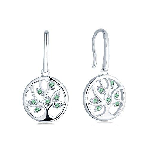 JO WISDOM pendientes árbol de la vida plata 925 mujer con esmeralda sintética verde con concirconita cúbica AAA