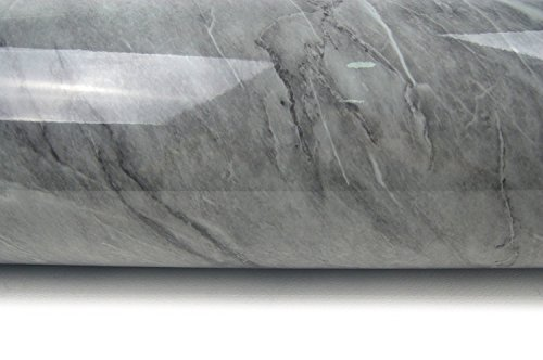 Deep Grey Granite Look Marble Effect High Gloss Finish Self Adhesive 61cm X 2M (24' X 78.7'), 0.23mm Peel and Stick Mural Wallpaper for Shelf Drawer Liner, Table Furniture Reform (Pack of 1)
