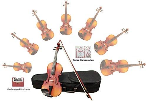 Sinfonie24 Geige Violin Set Größe 4/4, Hamburger Geigenbau Manufaktur, lebhafter, warmer, runder Klang, (Plus II) Koffer, Bogen, Kolophonium, bernsteinfarben, mit Markensaiten, akustisch