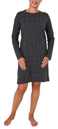 NORMANN-Wäschefabrik Damen Nachthemd Bigshirt Langarm mit toller Tupfenoptik – 281 213 90 904, Farbe:anthrazit-Melange, Größe2:48/50