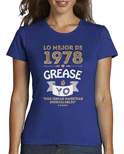latostadora - Camiseta 1978 Grease Yo para Mujer Azul Royal XXL