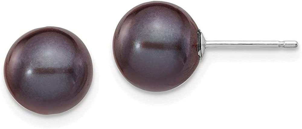 14k White Gold Black Round Cultured Pearl Stud Earrings (L-8 mm, W-9 mm)