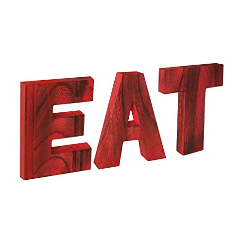 HnJOY Rustic Red Wood EAT Sign – Family Wooden Signs for Home Decor – Decorative Signs for Home, Kitchen, Living Room