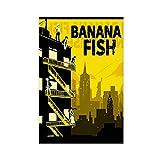 Póster de anime de peces plátano, póster de lona, decoración de pared, para sala de estar, dormitorio, decoración sin marco, 50 x 75 cm