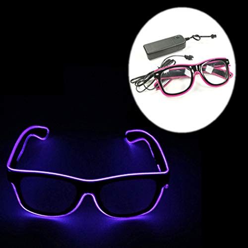Blinkende Led-Brille EL Wire-Brille Glow Neon Safety Leuchtet Kostüme Mit 4 Modi Für Festivals, Hochzeit, Party, EDM, Rave, Club, Bar, Tanz, Shows, Geburtstagsgeschenk (Lila)