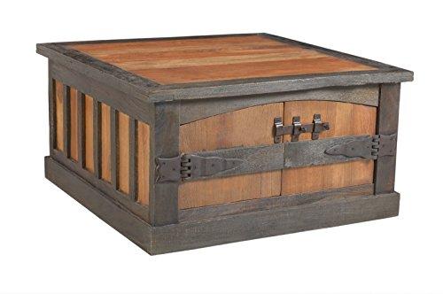 SIT-Möbel Fortezza 7694-30, Couchtischtruhe mit je Zwei Türen & Schubladen, recyceltes Altholz, braun & schwarz abgesetzt, 90 x 90 x 47 cm