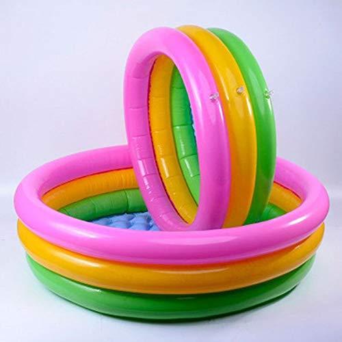 Planschbecken für Kinder BETOY Aufblasbarer Pool 3 Ringe Kiddie Pool Regenbogen-Weltraum-Garten Wasserspiel-Center für Kinder (Durchmesser 60 cm