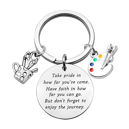 Artist Paint Palette Keychain Artist Inspiration Gift Art Student Grauduation Gift Painter Gifts Paint Brush Keychain Art Palette Charm Take Pride in How Far You Have Come (silver)