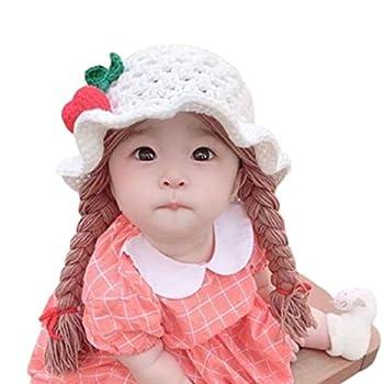 Infgreate Braided Wig Woolen Yarn Knitted Hat Sunflower Cherry Cap Photo Prop for Baby Boys Girls Children Kids - White Cherry
