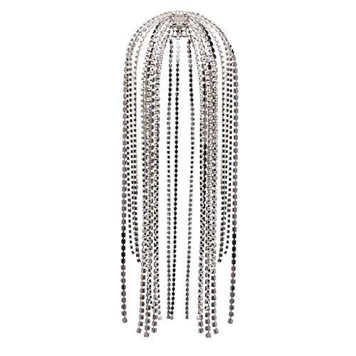SKYVII, Diadema de Borla de Diamantes de imitación Larga con Purpurina de...