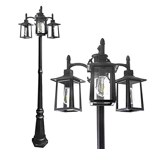 Led Street Light,Triple-Head Outdoor Post Light,2700K,1100lumens,Vintage Clear Glass Shade Lamp Lights Fixture,for Garden Backyard Patio Walkway,Black,8099