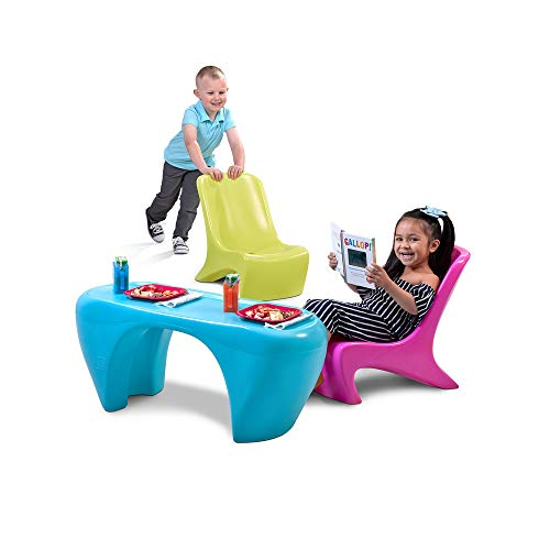 Step2 Junior Chic 3Piece Furniture Set | Kids Plastic Play Table & Chair Set | Colorful Sleek Modern Design