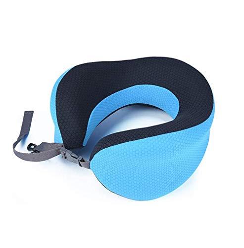 SMSOM Almohada de cuello con hebilla plegable para viajar, almohada de cuello de viaje para avión Pure Memory Espuma Pillow para almohada para el reposacabezas de vuelo Sueño, accesorios de avión port