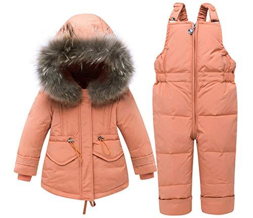 BEIAKE Chaqueta de plumón grueso para bebé, con capucha, conjunto de ropa de invierno y pantalones de plumón, unisex, traje de esquí para niñas, niños, naranja, 80 cm