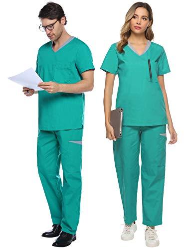 Abollria Unisex Medizinische Uniform Schrub Set aus Baumwollemix Schlupfkasack+Schlupfhose mit vielen Taschen für Medizin Pflege Krankenhaus,Grün für Frauen,XXL