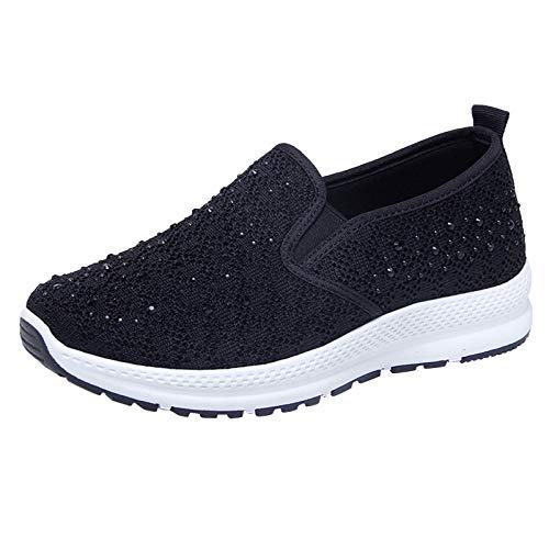 DAIFINEY Damen Mokassin Slipper Loafers Strass Mesh Comfort Schuhe Hüttenschuhe Schlupfschuh Slip on modisch Freizeitschuh Bequeme Flache(2-Schwarz/Black,39)