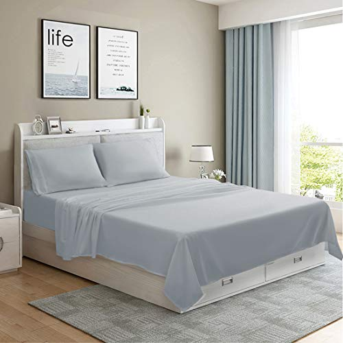MOONCAST 4 Pieces Queen Bed Sheet-Extra Soft and Hotel Luxury Feeling-Durable Machine Washable Microfiber-Gray Bed Sheet Set(Queen,Gray)