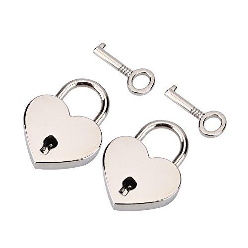 HEEPDD 2 stücke herzförmige Vorhängeschloss, 1,18x1,53x0,23 Zoll Herzförmige Mini Schloss mit Schlüssel Höhe Poliert Metallschlösser für Gepäck Handtasche (Nickel Farbe)