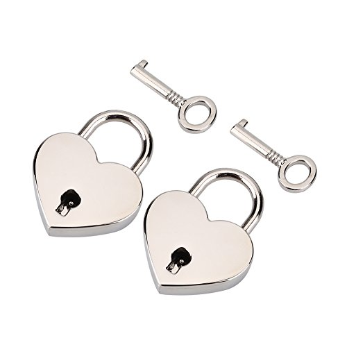 2 Packs Heart-Shaped Padlock with Key, Padlock and Key in Zinc Metal for...