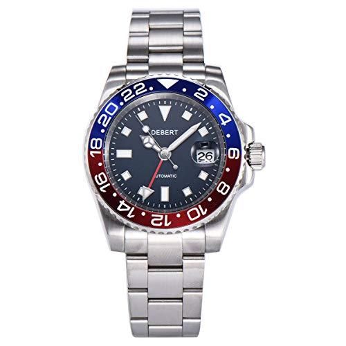 40mm DEBERT Sapphire Glass Luminous GMT Automatic Mechanical Mens Watch