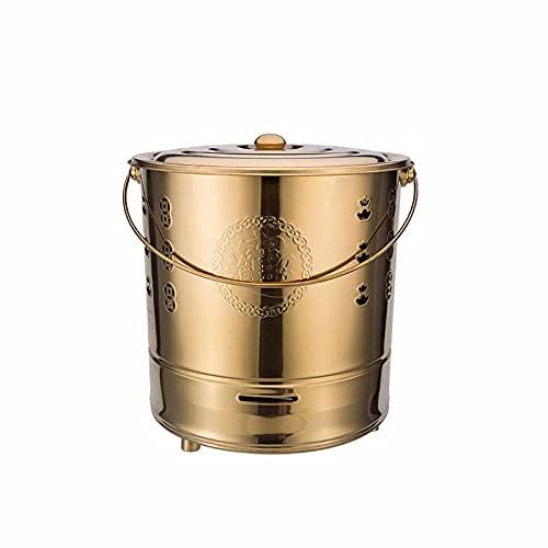 ZHHL Stainless Steel Garden Incinerator,Fire Barrel Burning,Cage Pit Metal Yard Debris Box,trash Incinerator High Temperature Resistance Gold-42×45cm