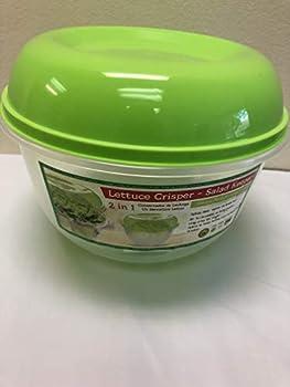 LETTUCE CRISPER-KEEPS FULL HEAD OF LETTUCE- 118 OZ-WITH SPIKES-VEGETABLE,LETTUCE & FRUIT SAVER CLEAR+GREEN LID