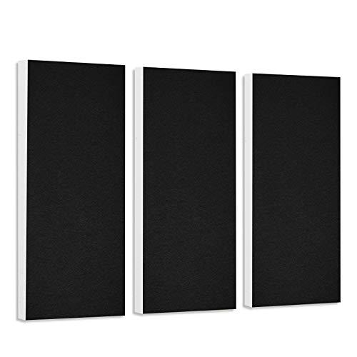 platino24 Schallabsorber-Set Colore aus Basotect G+ mit Akustikfilz, 3 Elemente in Schwarz je 825x275x50mm, Verbesserung der Raumakustik