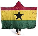 Manta con Capucha Retro de la Bandera de Ghana para Mujer,súper...